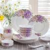 景德镇紫色中式陶瓷碗碟套装 家用菜盘餐具十人食饭盘碟子吃饭碗