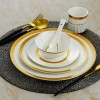 酒店陶瓷镶金餐具套装 餐厅饭店台面摆台碗碟盘包厢餐台用品定制